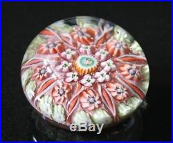 A Beautiful Vintage Murano Glass Paperweight With Pinks And Miniature Millefiori