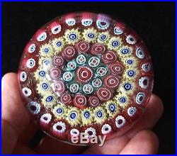 A Beautiful Vintage Murano Glass Paperweight With Red And Yellow Millefiori