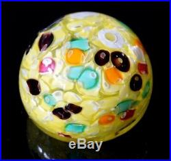 A Beautiful Vintage Murano Paperweight With Yellow And Coloured Millefiori