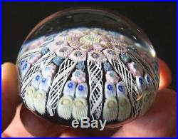 A Beautiful Vintage Strathearn Paperweight With Millefiori And Latticinio