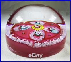 ANTIQUE VAL SAINT LAMBERT MILLEFIORI PAPERWEIGHT WITH 4 TORSADES ON PINK GROUND