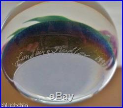 AWE INSPIRING Iridescent LUNDBERG Glass PAPERWEIGHT Signed DICHROIC 1990 Purple