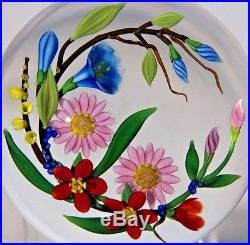 Alluring CHRIS BUZZINI Colorful FLORAL BOUQUET Art Glass PAPERWEIGHT