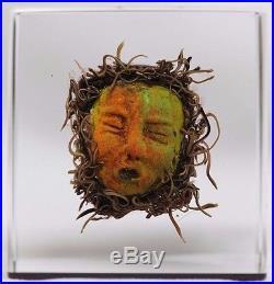 Amazing MASKS Cube ART By PAUL J STANKARD Glass PAPERWEIGHT