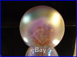Americain Glass Eye Studio Iridescent Paperweight Signed Ges97