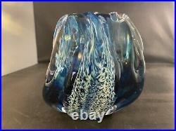 Anchor Bend Glassworks Ocean Blue Wave Blown Studio Art Glass 5 Statue Rare SEE