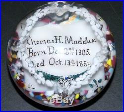 Antique 1900's Memorial Pair Of Glass Paperweights, Husband And Wife, Very Rare