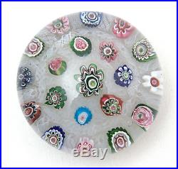 Antique 19th. C French Clichy Large Millefiori Chequer Glass Paperweight c. 1850