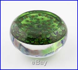 Antique 19th Century Clichy millefiori garland glass paperweight on green ground