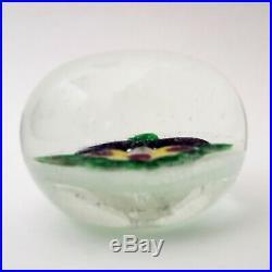 Antique Art Glass Pansy Paperweight Chinese 1930s Lampwork Latticino Millefiori