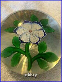 Antique BACCARAT Blue/white PRIMROSE millefioiri lampwork paperweight star cut