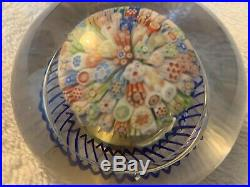 Antique BACCARAT CLOSE PACKED MUSHROOM w BLUE torsade millefioiri paperweight