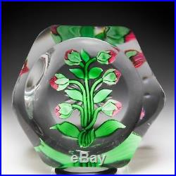 Antique BACCARAT pink clematis faceted glass paperweight