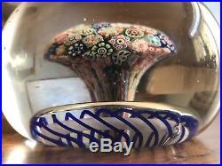 Antique Baccarat 1850s Mushroom Millefiori Closepack Torsade Paperweight