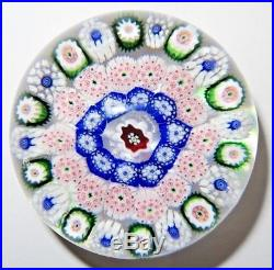 Antique Baccarat 3 Row Concentric Millefiori Paperweight