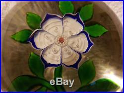 Antique Baccarat Blue/White primrose c1850 lampwork & millefiori paperweight