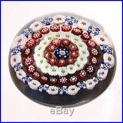 Antique Baccarat Complex Concentric Millefiori Paperweight withArrowhead Canes