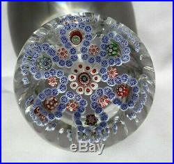 Antique Baccarat Concentric With Lovebird Cane Facetted Paperweight