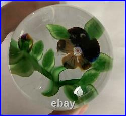 Antique Baccarat Pansy With Bud Lampwork Paperweight DuPont Type III