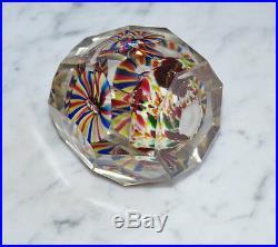 Antique Bohemian Facet Cut Glass Paperweight Floral (# 6675)
