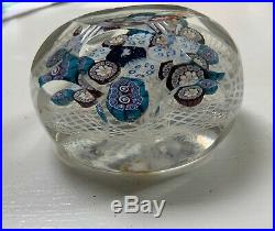 Antique C 1870 CANED ETCHED FACETED MILLEFIORI PAPERWEIGHT RUNNING RABBIT