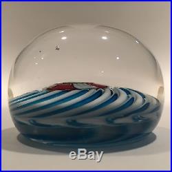 Antique Clichy Art Glass Paperweight Blue & White Swirl With Complex Millefiori
