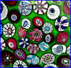 Antique Clichy Concentric Millefiori On Green Over White Ground