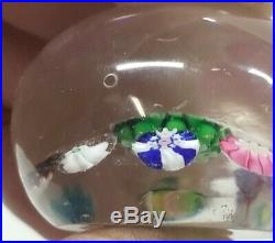 Antique Clichy Glass Paperweight Concentric Millefiori Design With Rose Cane