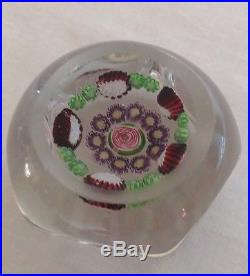 Antique Clichy Rose Flowers Millefiori Glass Paperweight Early 1800s Signed Base