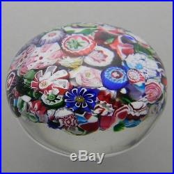 Antique Clichy Scrambled Paperweight with Rare Roses