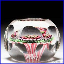 Antique Clichy close concentric millefiori mushroom faceted glass paperweight