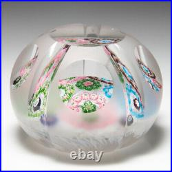Antique Clichy patterned millefiori garlands faceted glass paperweight