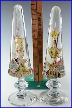 Antique Devils Fire Paperweights Pair Mantel Ornaments on Pedestal Bases