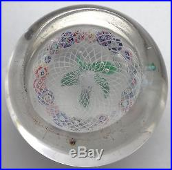 Antique FRENCH Art Glass Paperweight Bouquet on Latticino Pantin Clichy
