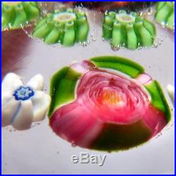 Antique French Clichy 5 roses millefiori glass paperweight / presse papiers