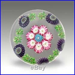 Antique French Clichy millefiori glass paperweight 7 roses / presse papiers