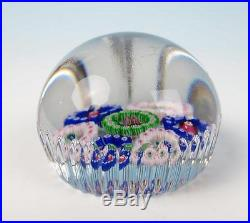 Antique French Spaced Millefiori Circlet Paperweight Probably Baccarat Cut Glass