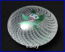 Antique Glass Paperweight Floral Bouquet On Latticino Ground French
