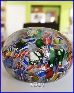 Antique. Hand-blown glass paperweight. Baccarat macedoine paperweight