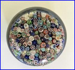Antique. Hand-blown glass paperweight. Millefiori. Made in 1847 by Baccarat