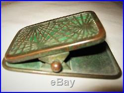 Antique L. C. T Tiffany Studios Bronze Pine Needle Art Glass Desk Clip Paperweight