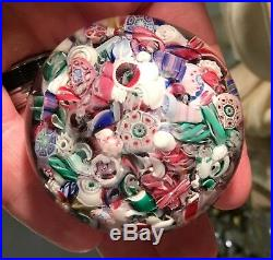Antique Millefiori Scramble Art Glass Paperweight Boston