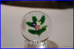 Antique Miniature Clichy Posy Paperweight With Green And White Rose
