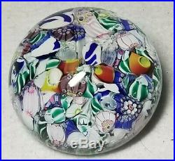 Antique New England Glass Co. NEGC Scrambled Millefiori Paperweight 19th C