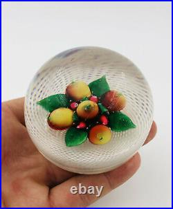 Antique New England latticino Pear & Cherry Glass Paperweight