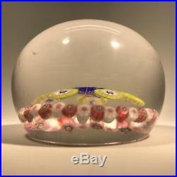 Antique Saint Louis Art Glass Paperweight Millefiori Rondelle with Garland