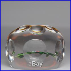 Antique Saint Louis faceted nosegay on amber-flash ground paperweight