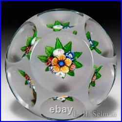 Antique Saint Louis upright bouquet faceted glass paperweight