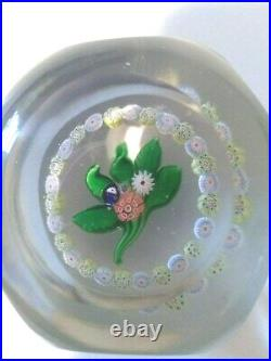 Antique St. Louis 2 3/4 Faceted Posy Paperweight Torsade With Arrow Canes