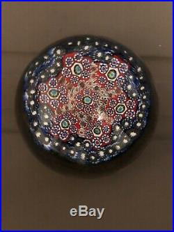 Antique St. Louis Canes Millefiori Round Glass Paperweight Pink Green Multicolor